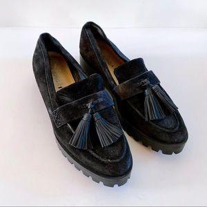 Via Spiga 'Gavin' Black Suede Platform Loafers